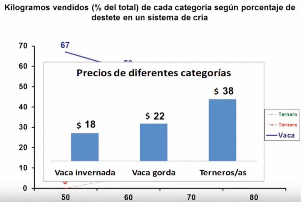 tasa de destete kilos por hectarea por categoria bovina