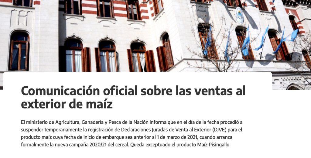 cierre exportaciones de maiz registro ventas al exterior maiz argentina