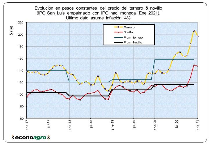 precio del ternero de invernada versus precio del novillo gordo